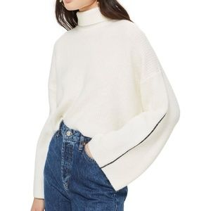 NWOT Topshop rollback crop sweater New 12 oversize